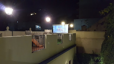 Roof terrace with open air cinema screen