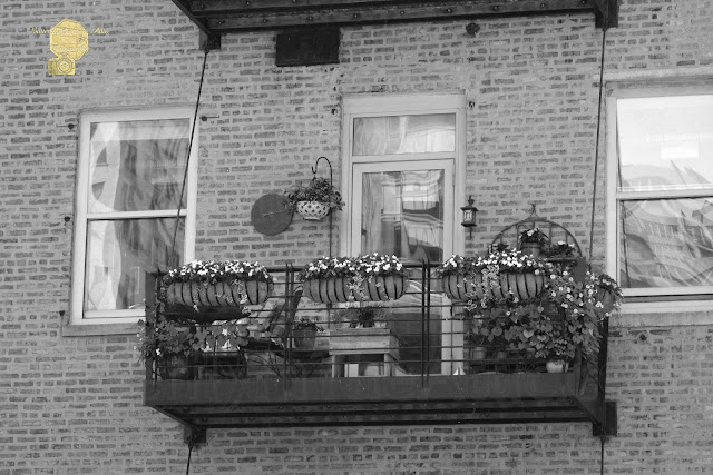 Summer Balcony on Old Brick Building in B/W Fine Art Photography
