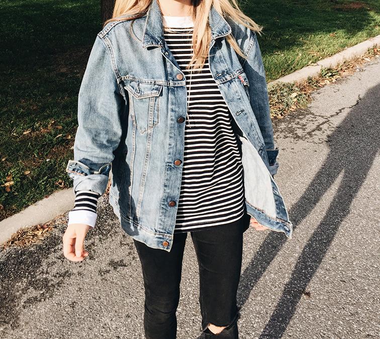 heleneisfor, fall foliage, Alexander Wang Anouk boots, Levi's denim jacket, Brixton hat, Zady shirt, Warby Parker Dorothy sunglasses