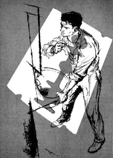 Illustration by Dick Francis accompanying the original publication in Galaxy magazine of the short story Dead Ringer by Lester del Rey