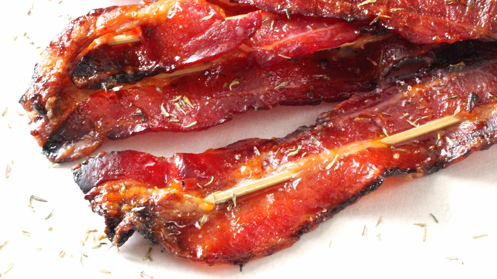 Apricot Thyme Glazed Bacon Sticks