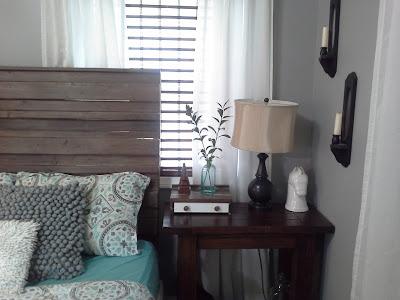 Rustic headboard nightstand teal