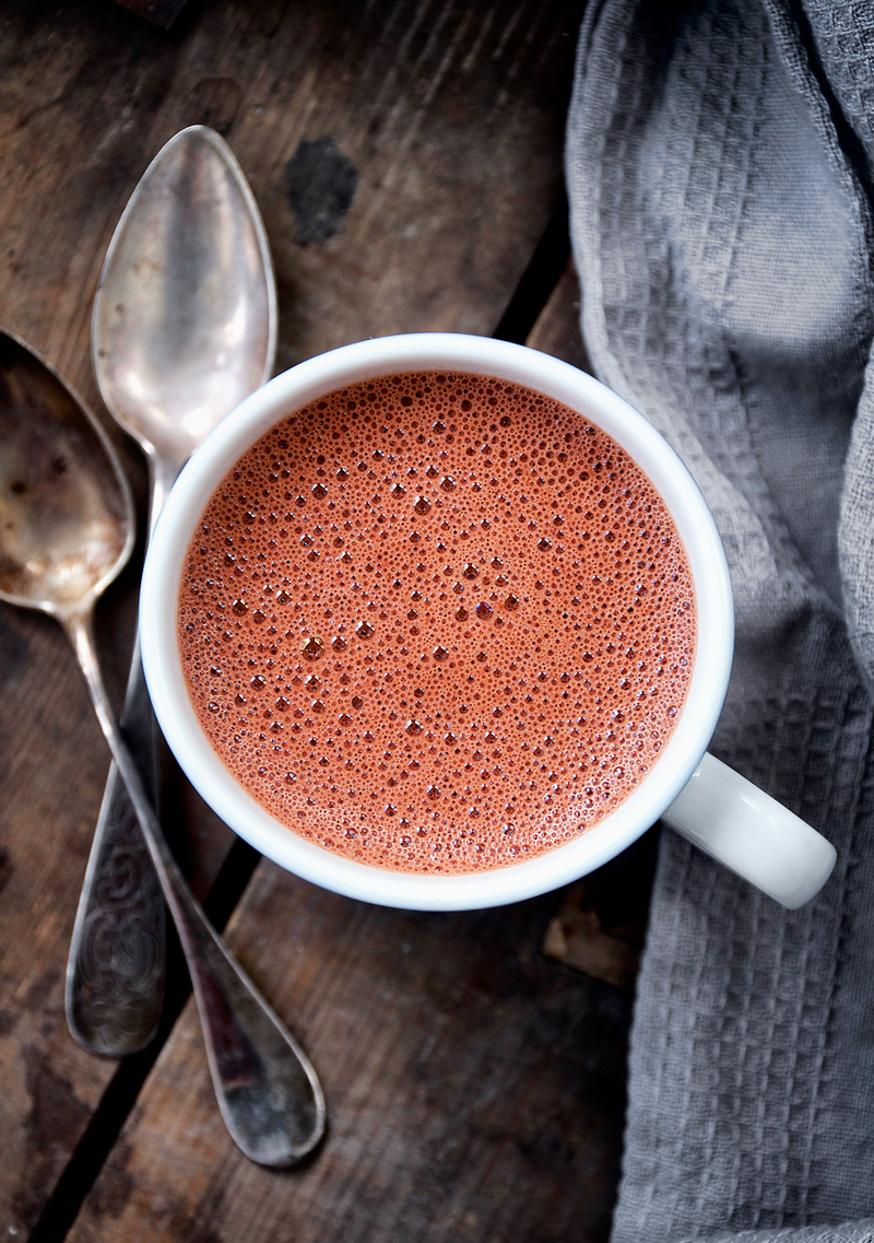 This red velvet hot chocolate is actually a vegan beet hot chocolate, cooked on the stove and then blended for a rich drink with a hidden vegetable. My secret for the richest hot chocolate is adding cocoa butter to the mixture, and I promise you won't notice the beets.