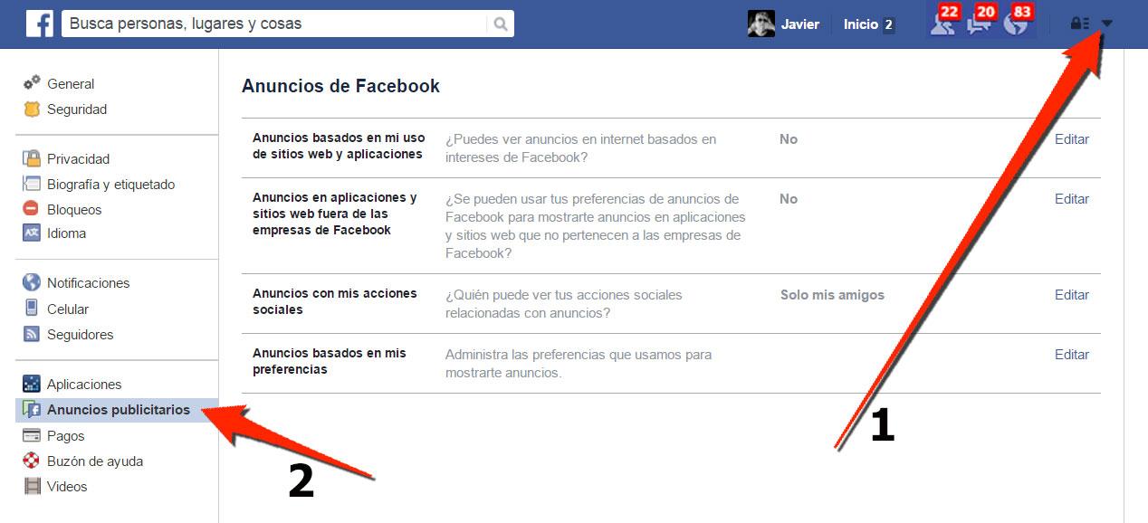 Facebook. Configuración de Anuncios