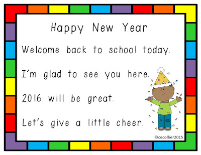Happy New Year.  Here are a few activities to get the new year off to a great start.  Post includes a Shared Reading Poem, Vocabulary, Writing Paper and more.  Give your emergent readers a way to celebrate the new year!