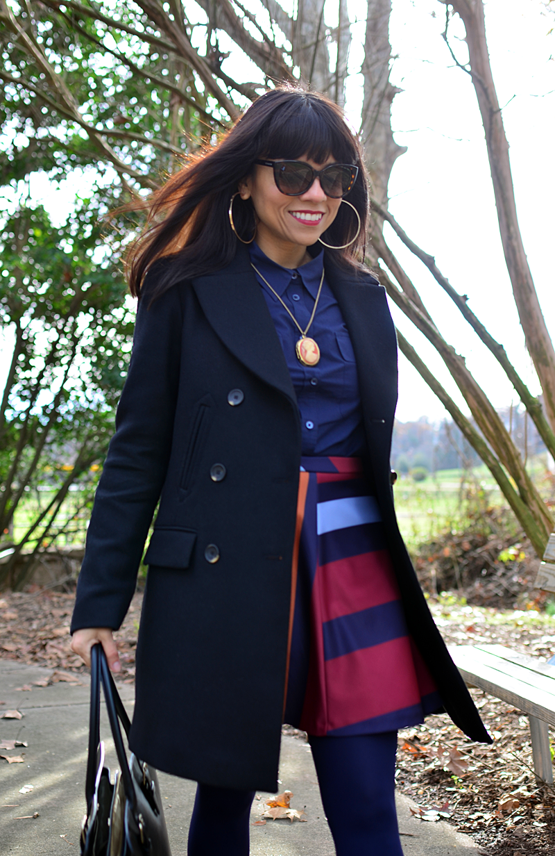 Black with navy street style