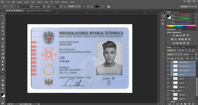 AUSTRIA ID CARD EDITABLE PSD TEMPLATE - PSD TEMPLATE USA, UK,EU,CA ...