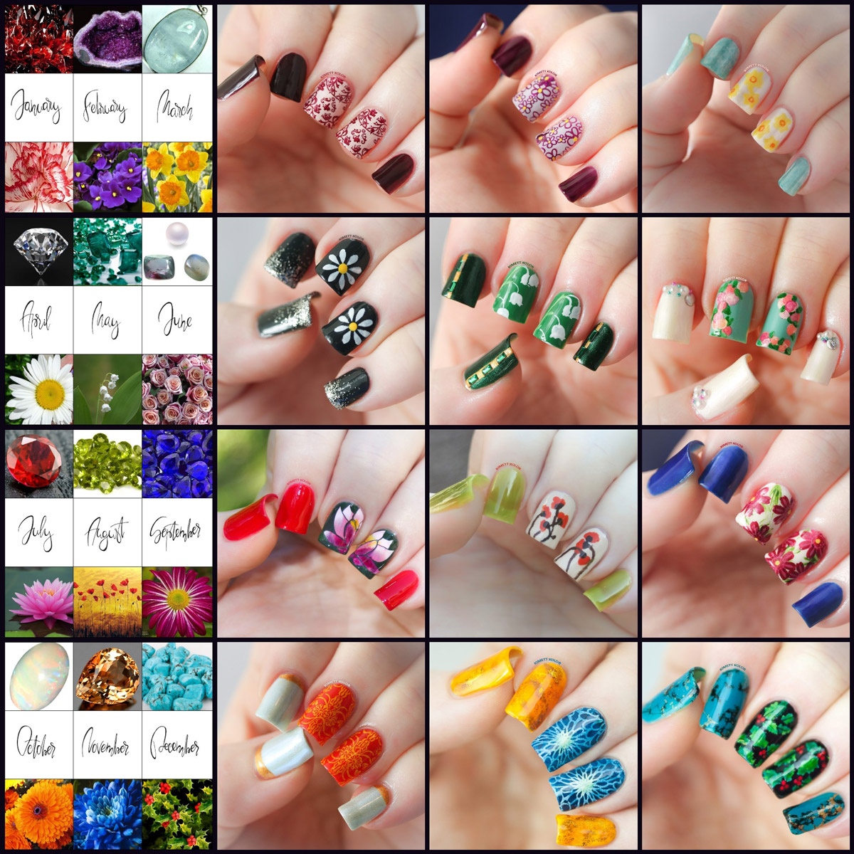 Nail Art for Every Month of the Year – Featuring Birthstones and Birthday Flowers