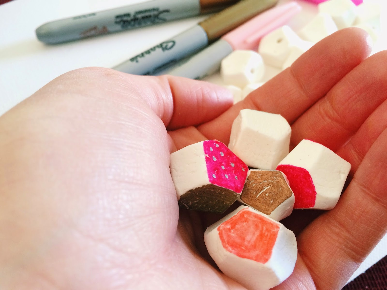 Make your own faceted beads from air dry clay.