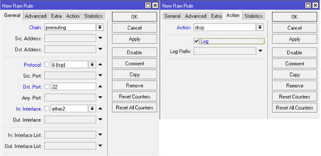 Konfigurasi matcher raw.
