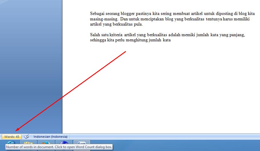 Microsoft Office Word untuk menghitung jumlah suku kata
