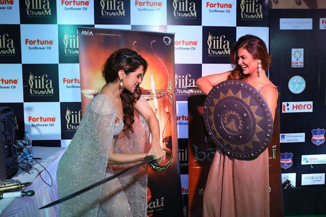 actresses at Baahubali VR Zone at IIFA Utsavam Awards 2017