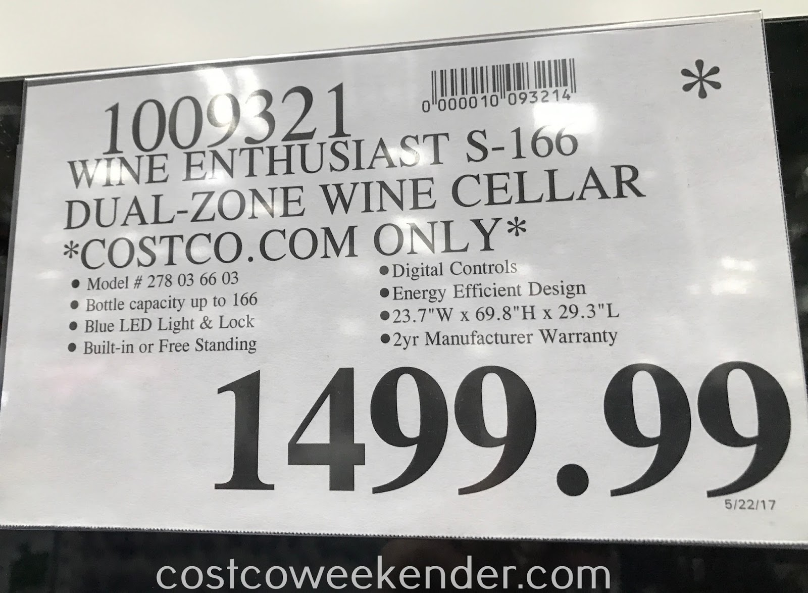 Deal for the Wine Enthusiast S-166 Dual-Zone Wine Cellar at Costco
