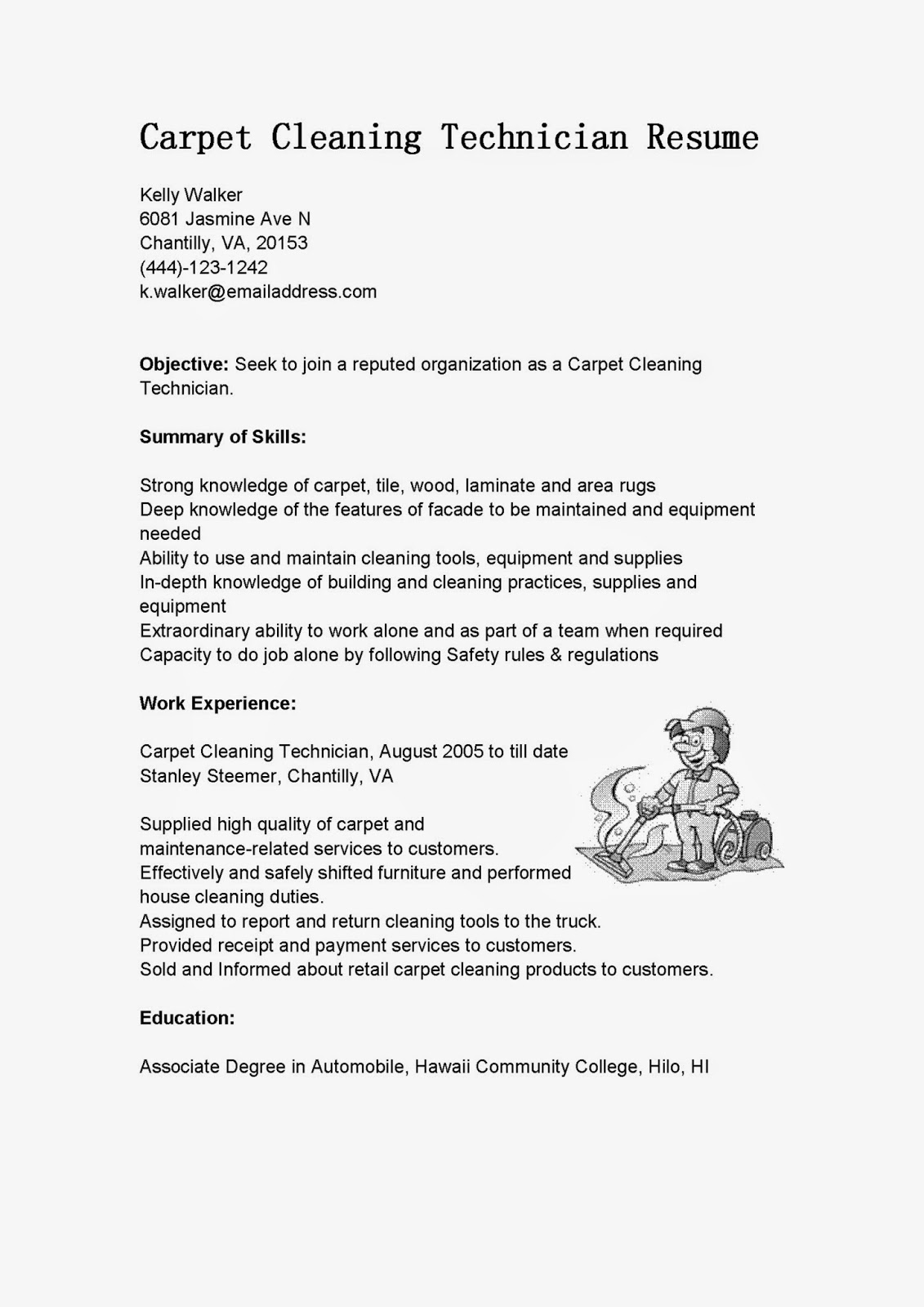 sample resume for janitorial jobs samplebusinessresumecom - Cleaner Sample Resume