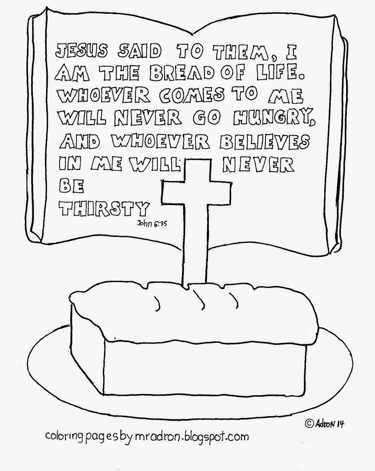 An illustration of John 6:35 to print and color.