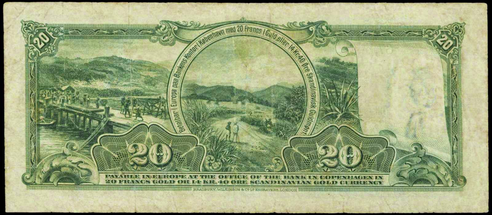 Danish West Indies banknotes 20 Francs