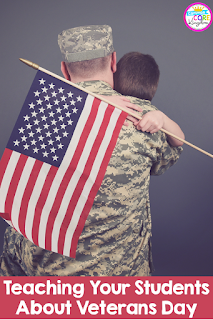 Things to consider when teaching your elementary students about Veterans Day. This post includes facts, Veterans Day close reading and writing product, and a Veterans Day book suggestion.