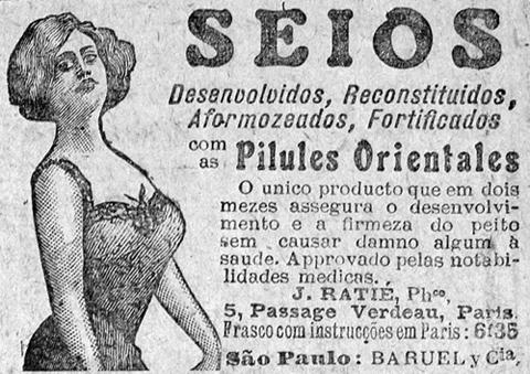 Propaganda antiga de produto medicinal para fortalecer os seios das mulheres