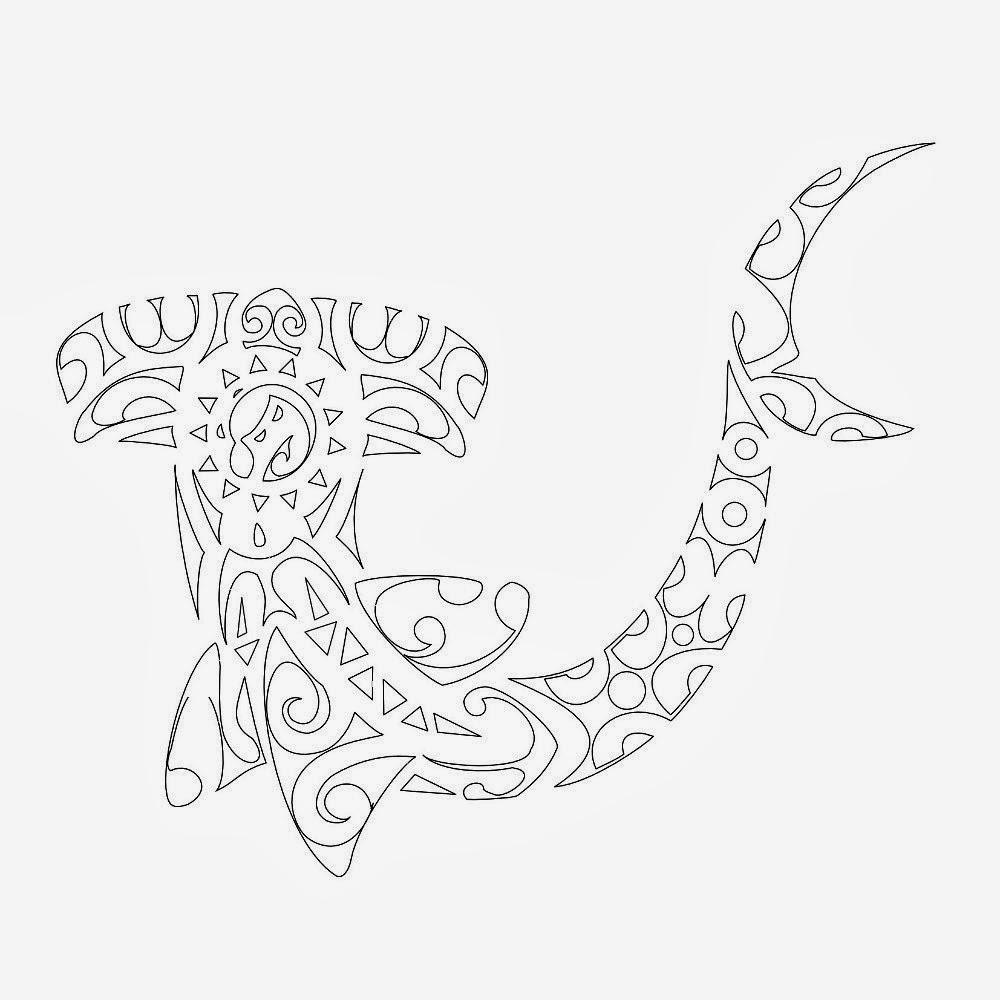 Shark hammerheads Maori tattoo stencil