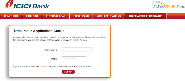 Track Status - check your applications,courier ,Payment/Tax status and Track Job opening : ICICI ...