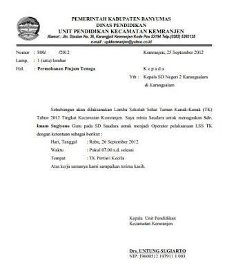Contoh Surat Permohonan / Pinjam Bantuan Tenaga Guru SMP ...