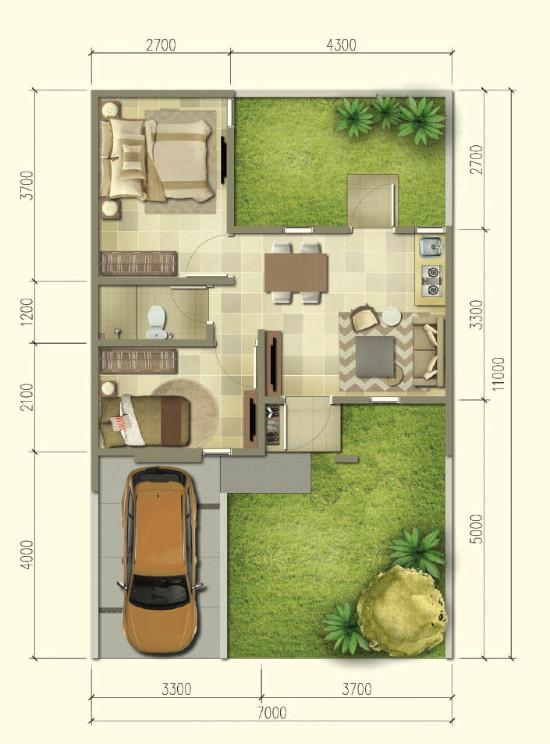 Denah rumah minimalis ukuran 7x11 meter 2 kamar tidur 1 lantai