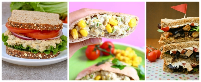Photos of Chickpea Salad Sandwich, Chickpea Mayonnaise Salad Sandwiches and Roasted Vegetable and Tofu Sandwiches