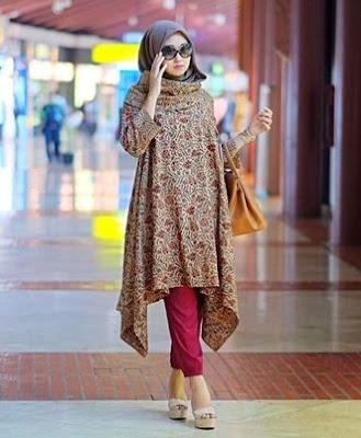 Model tunik batik kombinasi