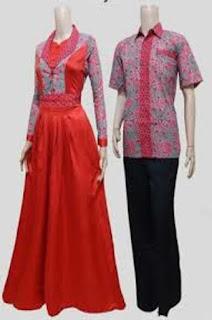 Gamis Batik Kombinasi Denim