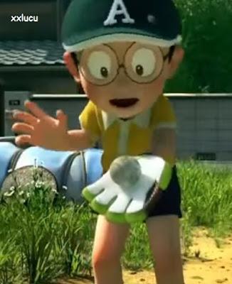 nobita dalam doraemon main baseball