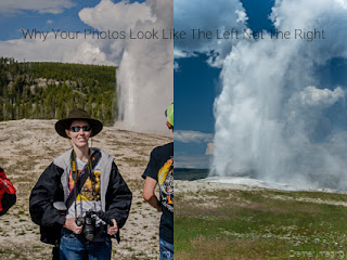 Cramer Imaging's comparison of professional quality photo to amateur quality photo of Old Faithful in Yellowstone National Park, Wyoming