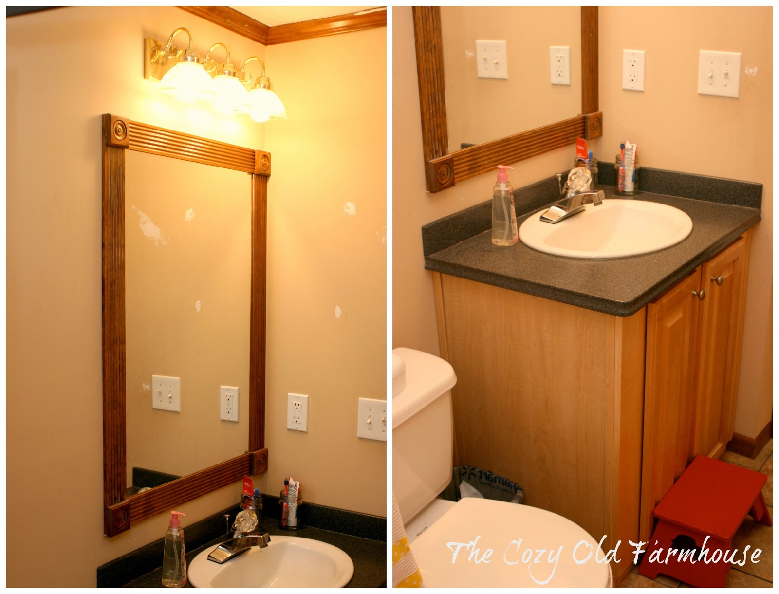 "Bathroom Mirror Not Centered the cozy old ""farmhouse"": kids'/guest bathroom farmhouse makeover"