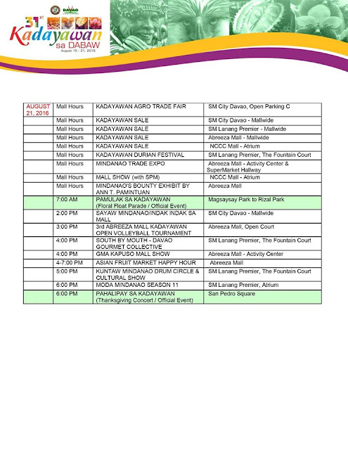 Kadayawan 2016 Official Schedule of Events