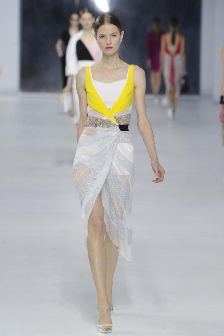 runway look: Dior Resort 2014 with light grey dress and yellow details