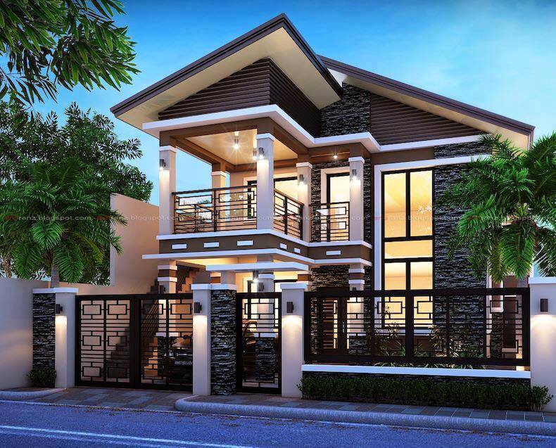2 storey modern house designs in the philippines bahay ofw for Two storey house floor plan designs philippines
