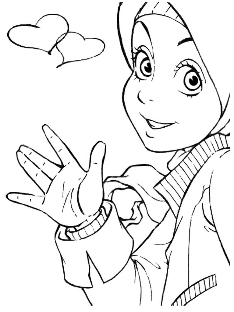 Gambar Kartun Muslimah Untuk Mewarnai