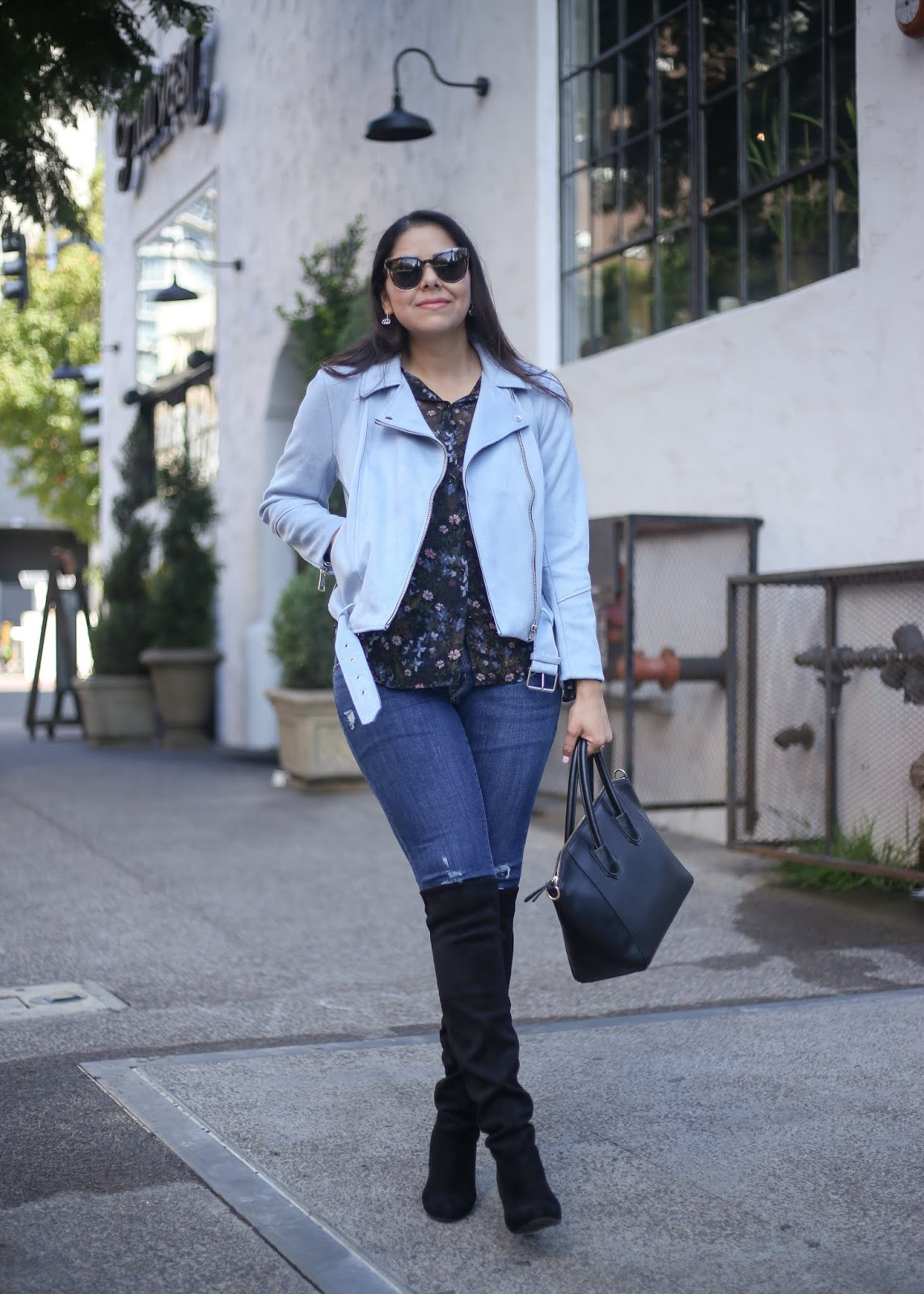 chic moto jacket outfit, paste colored jacket