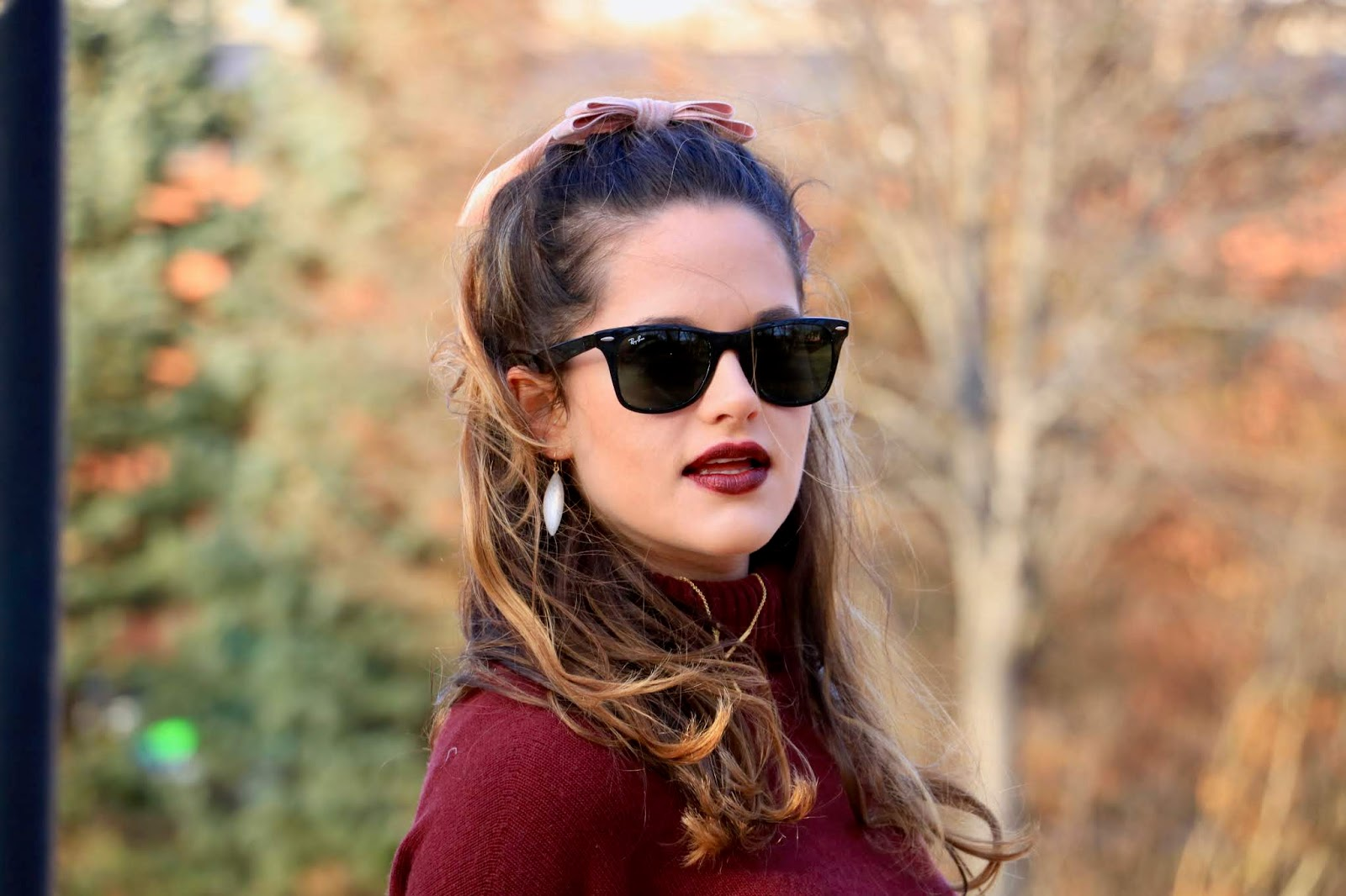 Nyc fashion blogger Kathleen Harper wearing red metallic liquid lipstick