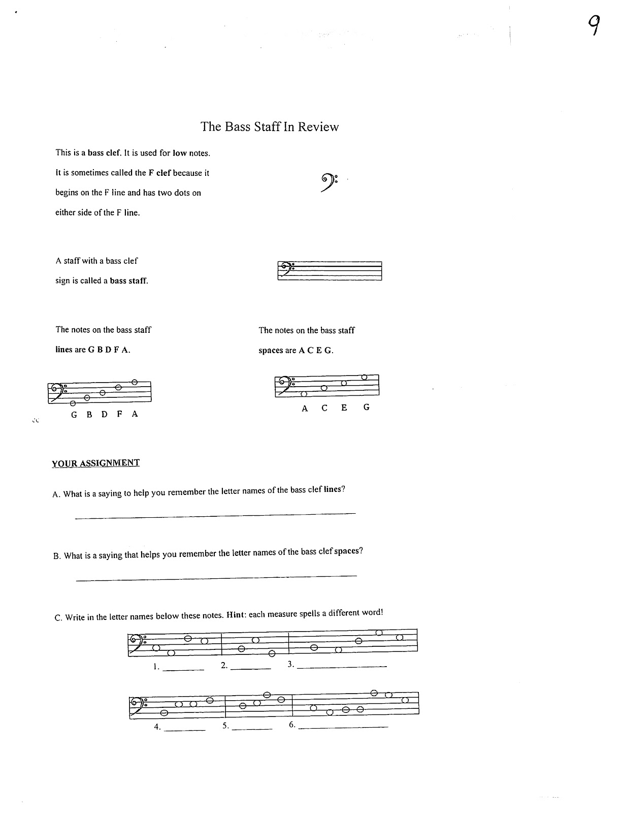 Miss Jacobson S Music Theory 7 Bass Clef Note Reading
