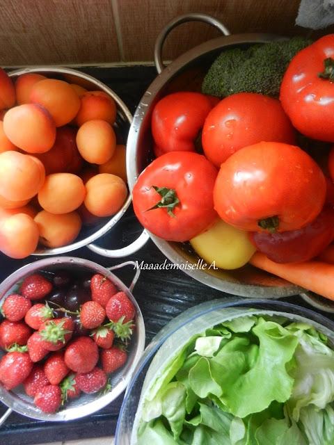 Fruits et légumes frais, retour de marché