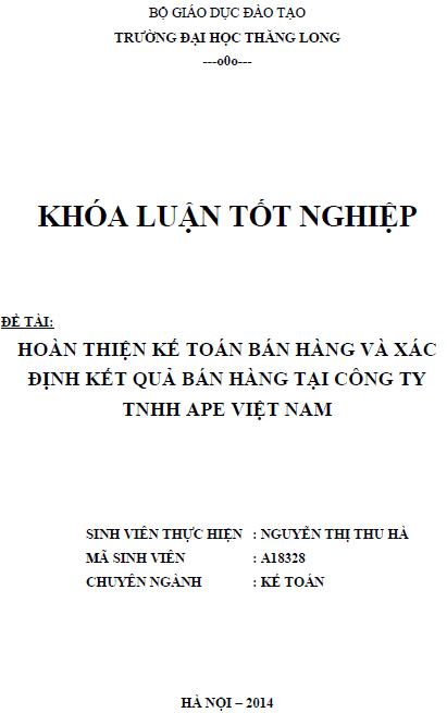 Hoàn thiện kế toán bán hàng và xác định kết quả bán hàng tại Công ty TNHH APE Việt Nam