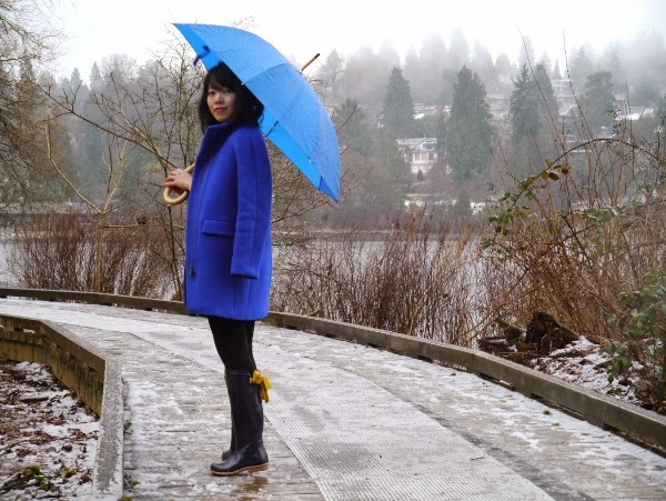 Cobalt blue cocoon coat and umbrella