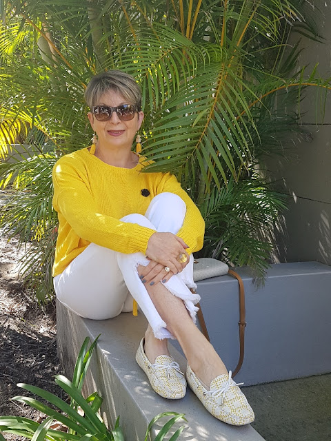 White cropped jeans, yellow jumper