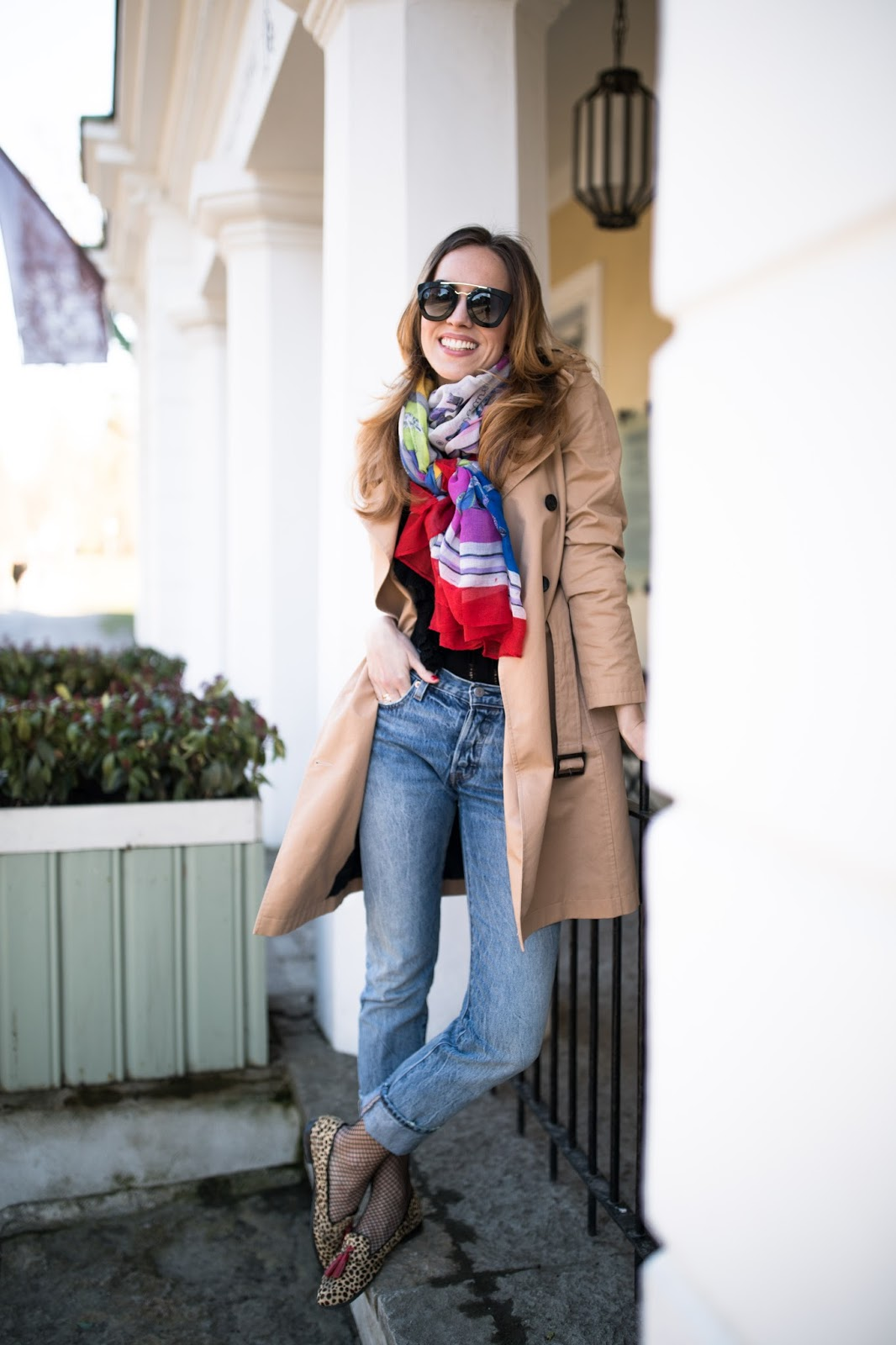 trench coat jeans outfit