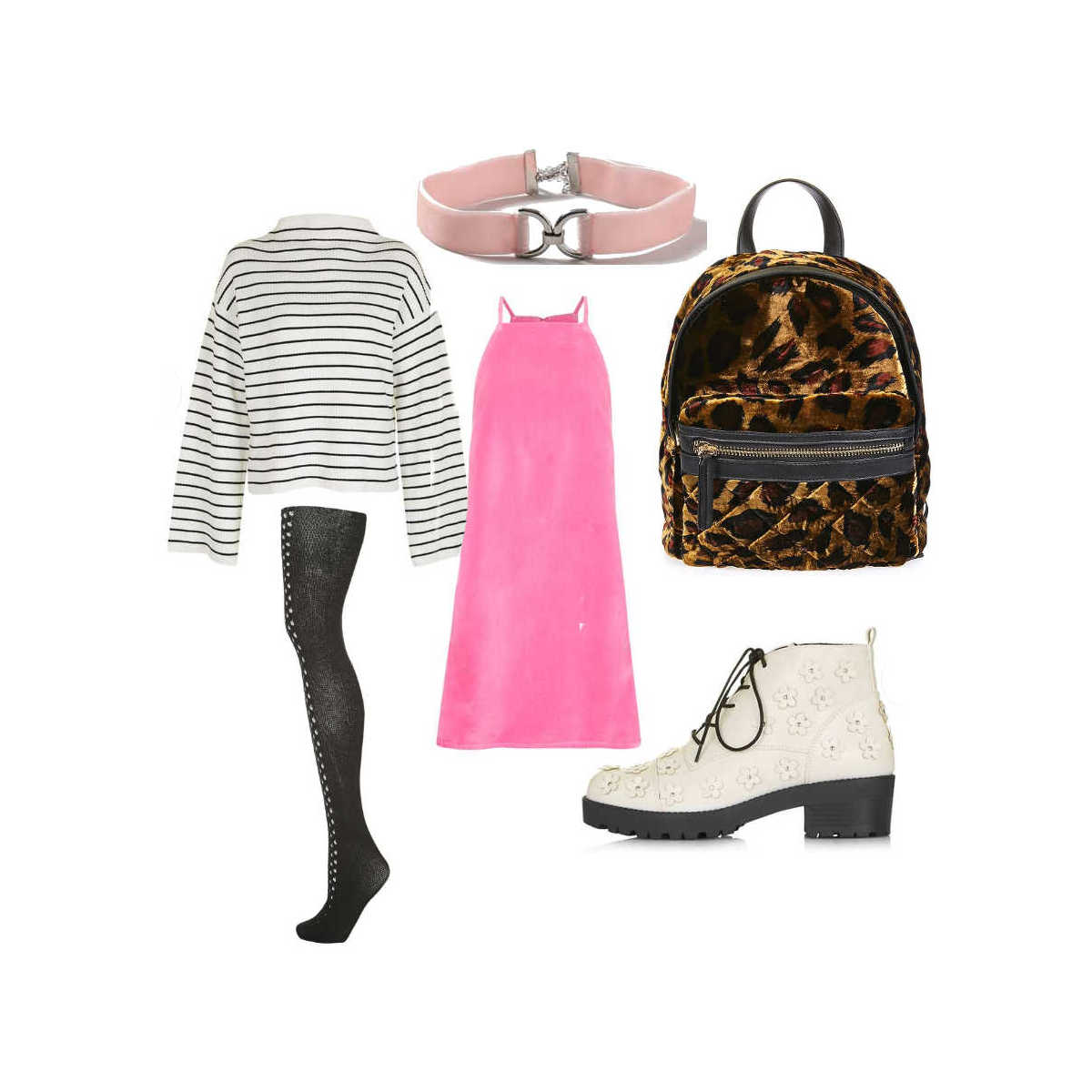 autumn winter outfit inspiration, autumn winter outfit flatlays, winter pinafore slip dress over jumper outfit, leopard print velvet backpack, 90s grunge winter outfit 1