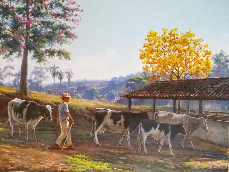 Cuadros modernos pinturas y dibujos cuadros campesinos - Cuadros de vacas ...