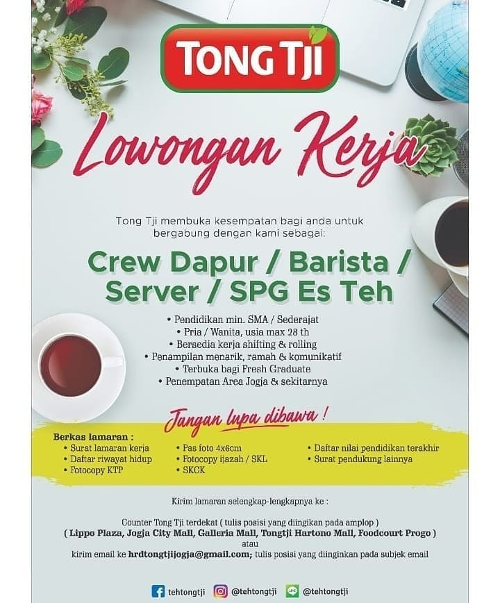 Lowongan Kerja Pt Cahaya Tirta Rasa Tong Tji Mei 2019 Crew Dapur Barista Server Spg Es Teh Yogyakarta Loker Swasta
