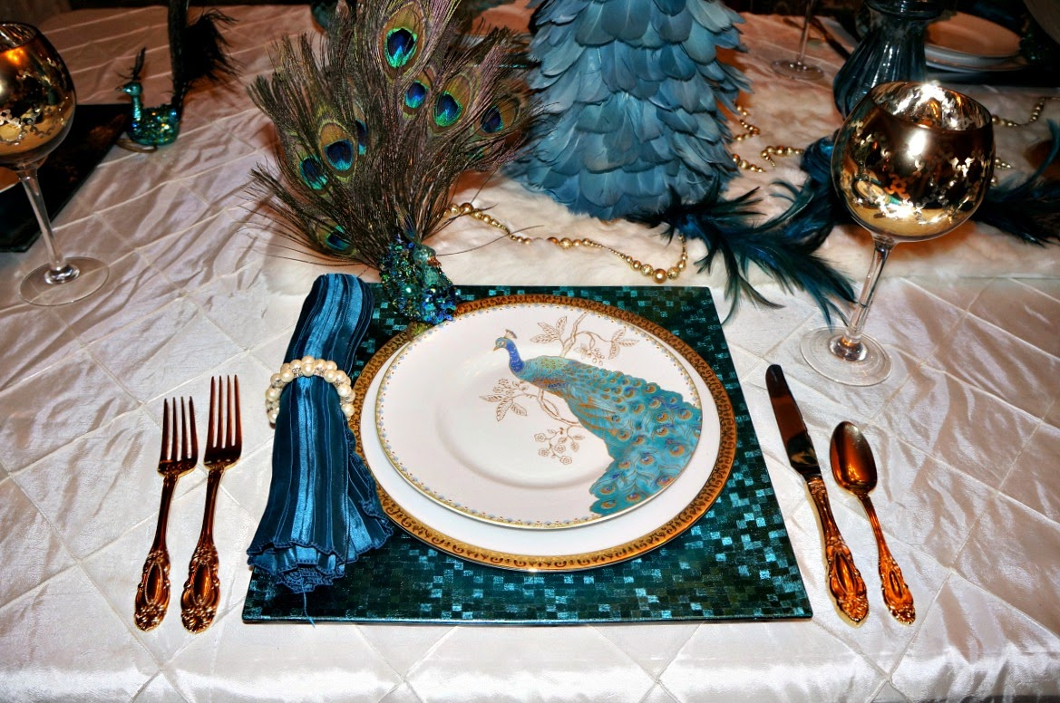 Peacock Tablescape With Aqua Amp Gold Life And Linda