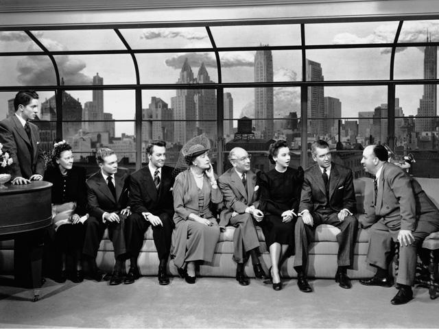 El estupendo reparto de La soga, en el que destacan sobre todo James Stewart, Farley Granger y Sir Cedric Hardwicke como habituales de Hitchcock.