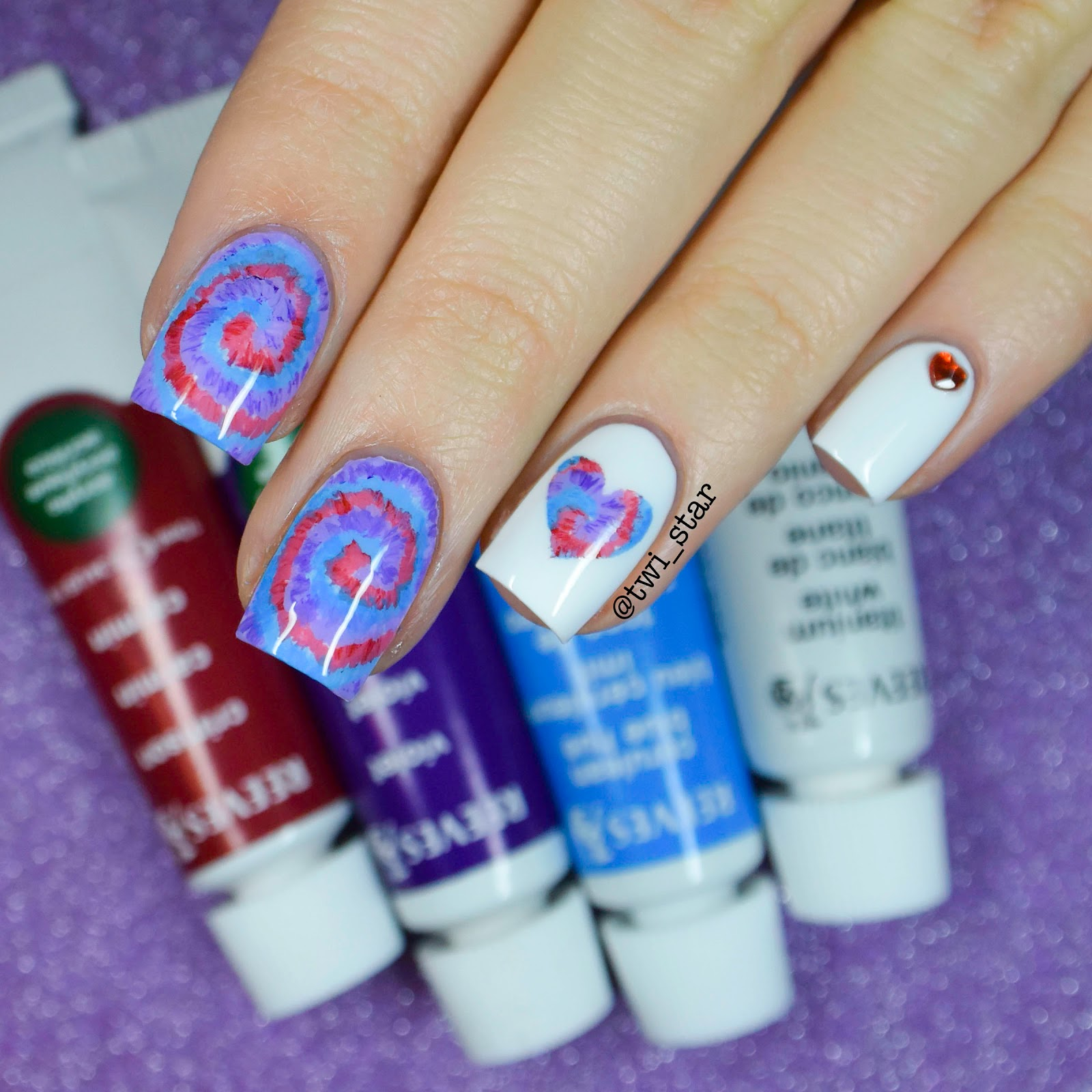 twi-star | Nail Art Blog: Tie-Dye Acrylic Paint Nail Art!